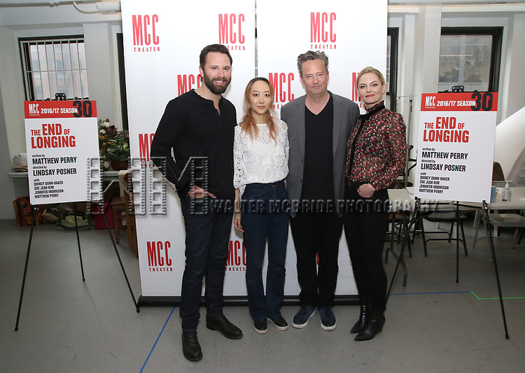 Quincy Dunn-Baker, Sue Jean Kim, Matthew Perry and Jennifer Morrison attend 'The End Of Longing' cast photocall at Roundabout Rehearsal Studio on April 20, 2017 in New York City.
