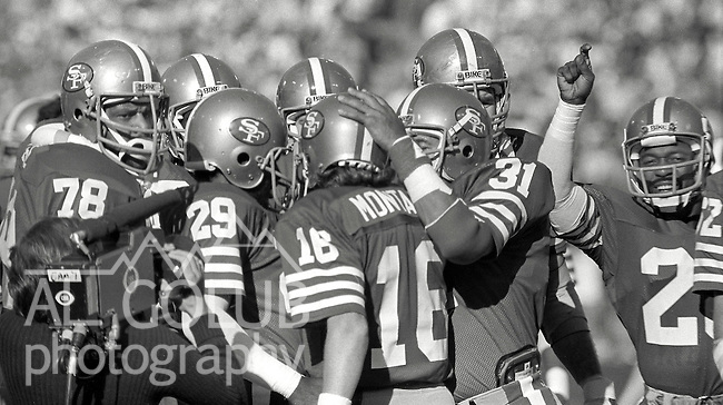 San Francisco 49ers vs.Dallas Cowboys at Candlestick Park Sunday, January 10. 1982..49ers beat Cowboys 28-27 for Conference Championship..49ers with Montana at start of game...Photo By Al Golub/Golub Photography.