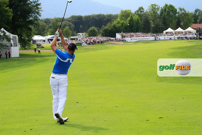 Niclas Fasth (SWE) plays his 2nd shot on the 18th hole during the Final Day of the BMW Italian Open presented by Carta Si at Royal Park I Roveri, Turin, Italy, 12th June 2011 (Photo Eoin Clarke/Golffile 2011)