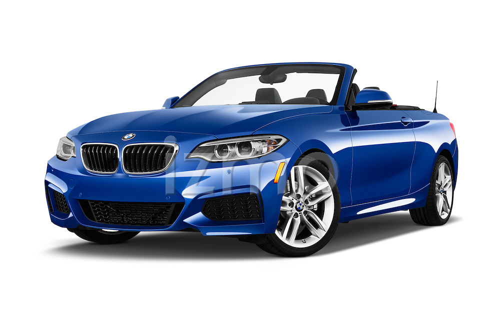 Stock pictures of low aggressive front three quarter view of a 2015 BMW 2 Series 228i 2 Door Convertible Low Aggressive