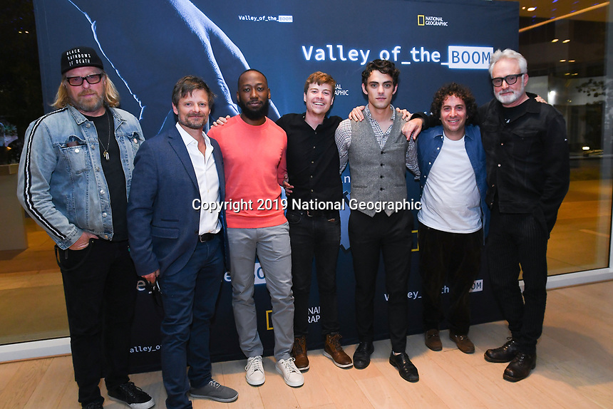 """NORTH HOLLYWOOD, CA - APRIL 8: Creator Matthew Carnahan ( from left) and cast members Steve Zahn, Lamorne Morris, John Karna, Dakota Shapiro, Oliver Cooper and Bradley Whitford attend an FYC screening and Q&A for National Geographic's """"Valley of the Boom"""" at the Television Academy on April 8, 2019 in North Hollywood, California. (Photo by Vince Bucci/National Geographic/PictureGroup)"""
