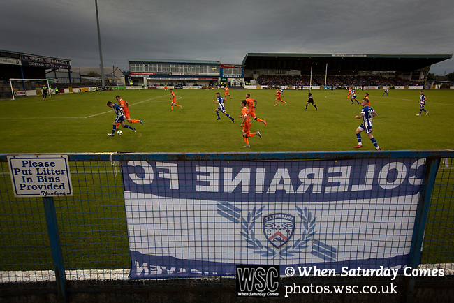 Second-half action showing the home team pressing for an equaliser as Coleraine (in blue) played Spartak Subotica of Serbia in a Europa League Qualifying First Round second leg at the Showgrounds, Coleraine. The hosts from Northern Ireland had drawn the away leg 1-1 the previous week, however, the visitors won the return leg 2-0 to progress to face Sparta Prague in the next round, watched by a sell-out crowd of 1700.