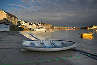 Moored boats on the Harbour Beach on St Mary's, Isles of Scilly