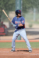 Cleveland Indians third baseman Giovanny Urshela (23) during an instructional league game against the Cincinnati Reds on September 28, 2013 at Goodyear Training Complex in Goodyear, Arizona.  (Mike Janes/Four Seam Images)