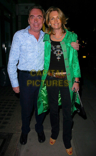 "LORD ANDREW LLOYD WEBER & WIFE.After Party for the  UK Film Premiere of ""Wah Wah"", .Sketch, London, England, .May 30th 2006..full length green coat.Ref: CAN.www.capitalpictures.com.sales@capitalpictures.com.©Can Nguyen/Capital Pictures"