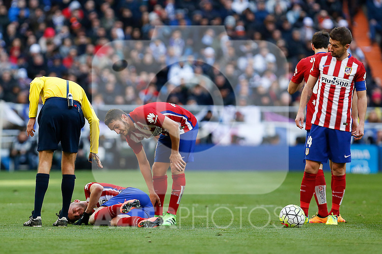 Atletico de Madrid´s Koke and Gabi during 2015/16 La Liga match between Real Madrid and Atletico de Madrid at Santiago Bernabeu stadium in Madrid, Spain. February 27, 2016. (ALTERPHOTOS/Victor Blanco)