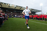 Anthony Perenise and the rest of the Bath Rugby team run onto the field. Aviva Premiership match, between Exeter Chiefs and Bath Rugby on December 2, 2017 at Sandy Park in Exeter, England. Photo by: Patrick Khachfe / Onside Images