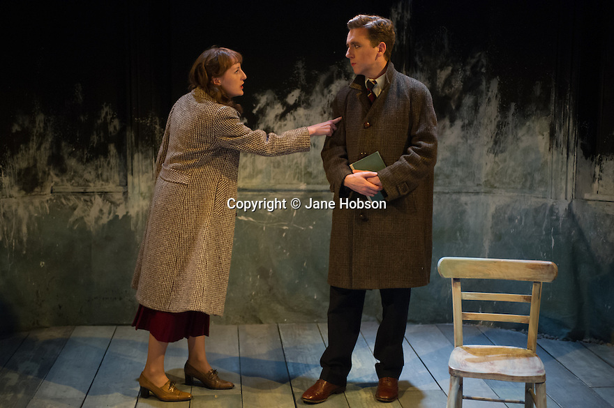 London, UK. 02.10.2012. A LIFE, by Hugh Leonard, directed by Eleanor Rhode, opens at the Finborough Theatre. Picture shows: Jenny Fennessy (Dorothy) and David Walshe (Desmond). Photo credit: Jane Hobson