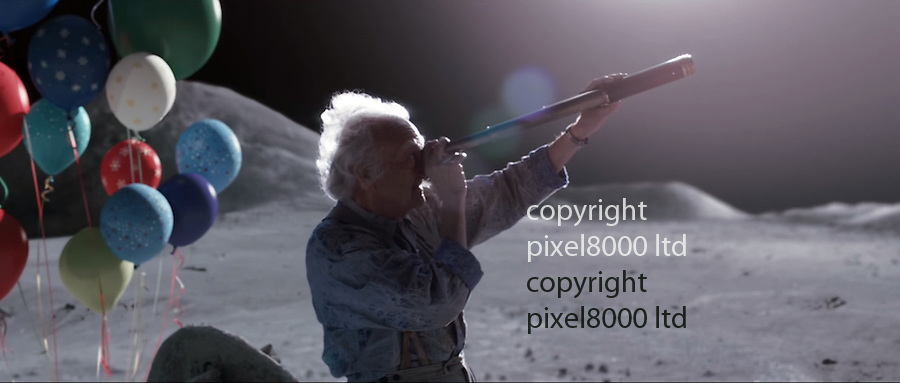 "Pic shows"" New John Lewis Christmas advert released today: old man is sad and lonely until the present arrives on xmas day<br /> <br /> <br /> ""The Man In The Moon""<br /> <br /> shows the tearjerking story of a little girl who spies a lonely man on the moon.<br /> She tried to send him a message via paper planes and firing arrows<br /> only to finally succeed on christmas day by using helium balloons to send him toy telescope.<br /> Now he can see her and sheds a tear.<br /> Final caption is <br /> show someone they're loved this Christmas.<br /> <br /> <br /> <br /> Picture John Lewis supplied by Pixel8000 07917221968"