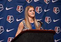 #2 overall pick Kealia Ohai of the Houston Dash addresses the crowd during the NWSL draft at the Pennsylvania Convention Center in Philadelphia, PA, on January 17, 2014.