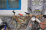 Africa, Tunisia, Nabeul. Bicycle fitted with a red additional seat. --- No releases available, but releases may not be needed for certain uses. --- Info: Image belongs to a series of photographs taken on a journey to southern Tunisia in North Africa in October 2010. The trip was undertaken by 10 people driving 5 historic Series Land Rover vehicles from the 1960's and 1970's. Most of the journey's time was spent in the Sahara desert, especially in the area around Douz, Tembaine, Ksar Ghilane on the eastern edge of the Grand Erg Oriental.
