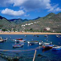 Fishing boats at anchorage on Teresitas beach,Tenerife, Canary Islands, Spain.
