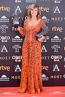 Emma Suarez pose to the media with the Goya award at Madrid Marriott Auditorium Hotel in Madrid, Spain. February 04, 2017. (ALTERPHOTOS/BorjaB.Hojas) /NORTEPHOTO.COM