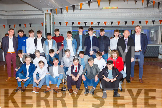 The Dr Crokes minor team that East Kerry League and Championship received their medals  at the Dr Crokes GAA social in the Dromhall Hotel on Friday night