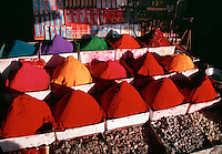 Colorful Tikka powder display at market Bijapur India.