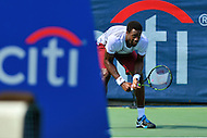 Washington, DC - July 24, 2016: Gael Monfils of France readies to play a serve during his finals match against Ivo Karlovic of Croatia in the Citi Open at the Rock Creek Park Tennis Center in the District of Columbia, July 24, 2016.  (Photo by Don Baxter/Media Images International)
