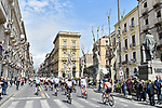 The start of Stage 1 of Il Giro di Sicilia running 165km from Catania to Milazzo, Italy. 3rd April 2019.<br /> Picture: LaPresse/Massimo Paolone | Cyclefile<br /> <br /> <br /> All photos usage must carry mandatory copyright credit (© Cyclefile | LaPresse/Massimo Paolone)