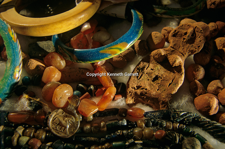 Jewelry, fertility amulet, necklaces, faience and ivory bracelets, Bahariya Museum, Egypt; Archaeology; Bahariya Oasis; Greco-Roman;Golden Mummies; Valley of the Golden Mummies; Book originals; mummies