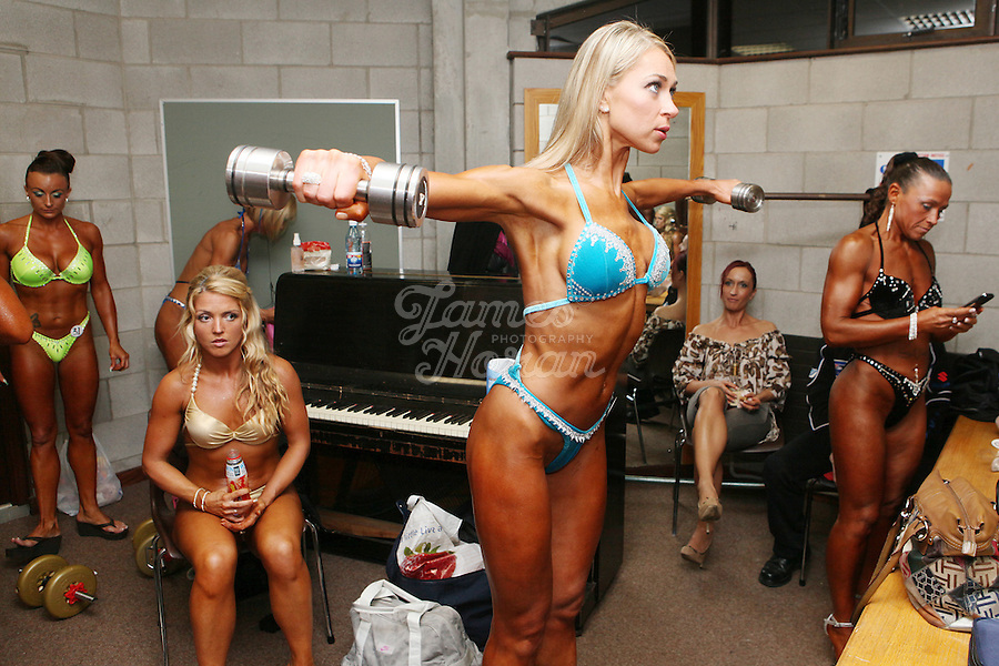 23/10/2010. Irish female physique and figure fitness national championships.  Contestants are pictured pumping up backstage during the female figure fitness category as part of the 2010 RIBBF national bodybuilding championships at the University of Limerick Concert Hall, Limerick, Ireland. Picture James Horan.