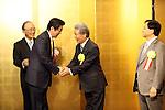 January 5, 2017, Tokyo, Japan - Japanese Prime Minister Shinzo Abe (2nd L) is greeted by Japanese business group leaders Akio Mimura (L), Sadayuki Sakakibara (2nd R) and Yoshimitsu Kobayashi (R) for a business leaders' New Year party at a Tokyo hotel on Tuesday, January 5, 2017.  (Photo by Yoshio Tsunoda/AFLO)
