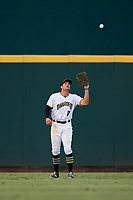 Bradenton Marauders center fielder Casey Hughston (17) settles under a fly ball during the second game of a doubleheader against the Tampa Yankees on June 14, 2017 at LECOM Park in Bradenton, Florida.  Tampa defeated Bradenton 5-1.  (Mike Janes/Four Seam Images)
