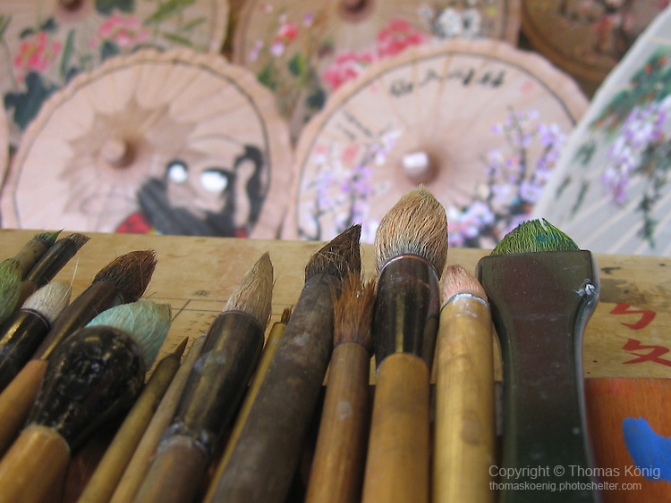 Meinong, Taiwan -- Brushes used for painting on Chinese oil paper umbrellas.