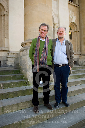 Jeremy Treglown, former editor of the TLS, and William Chislett, Madrid-based journalist, outside the Clarendon Building, during the FT Weekend Oxford Literary Festival, Oxford, UK. Saturday 29 March 2014.<br /> <br /> PHOTO COPYRIGHT Graham Harrison<br /> graham@grahamharrison.com<br /> <br /> Moral rights asserted.