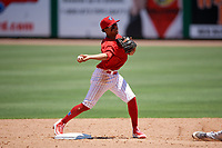 Clearwater Threshers second baseman Raul Rivas (13) turns a double play during a game against the Fort Myers Miracle on April 25, 2018 at Spectrum Field in Clearwater, Florida.  Clearwater defeated Fort Myers 9-5. (Mike Janes/Four Seam Images)
