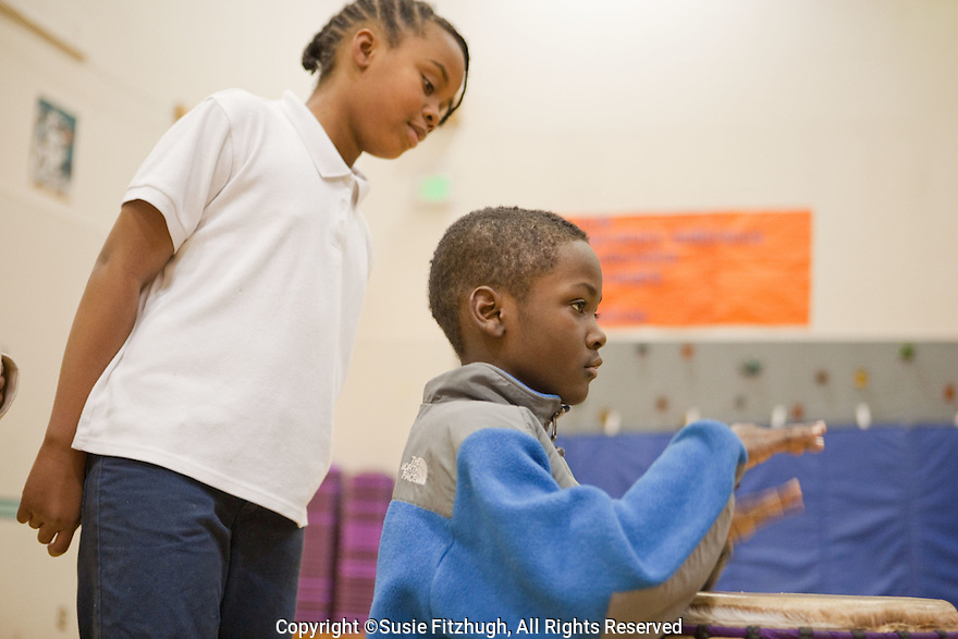 Aaron Walker-Loud's World Rythms class at Thurgood Marshall Elementary School, Seattle.
