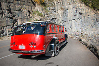 Red Jammer on the Going to the Sun Road. Red Jammers are buses used at Glacier National Park in the United States to transport park visitors. While the buses are called reds, the bus drivers are called jammers because of the sound the gears made when shifting on the steep roads of the park. The &quot;jamming&quot; sound came from the unsynchronised transmissions, where double-clutching was a must.<br /> <br /> They were manufactured as the Model 706 by the White Motor Company from 1936-1939. The distinctive vehicles, with roll-back canvas convertible tops, were the product of noted industrial designer Alexis de Sakhnoffsky, and originally operated in seven National Parks. Glacier National Park still operates 33 of their original buses today on the Going-to-the-Sun Road. <br /> <br /> Glacier's  Red Jammers were restored from 2000-2002 by Ford Motor Company in conjunction with TransGlobal in Livonia Michigan to run on propane or gas to lessen their environmental impact. The bodies were removed from their original chassis and built upon modern Ford E-Series van chassis. The original standard transmissions were also replaced in 1989 with newer automatics, removing the trademark &quot;jamming&quot; sound. <br /> <br /> This fleet of Red Buses is considered the oldest intact fleet of passenger carrying vehicles anywhere. These 17 passenger convertible touring sedans are more than a mere means of transportation for locals and visitors - they are cherished, elegant icons of Glacier National Park