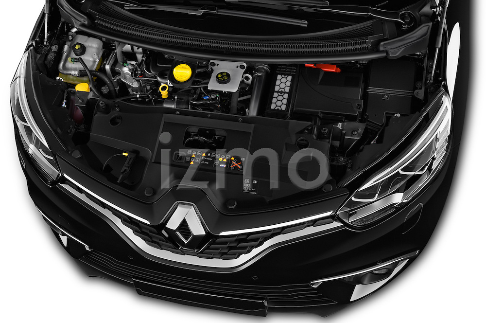 Car Stock 2017 Renault Grand-Scenic Bose-Edition 5 Door Minivan Engine  high angle detail view