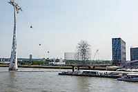 Great Britain, England, London. Gondola & statue on Thames River.