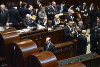 Roma, 15 Marzo 2013.Montecitorio, Camera dei Deputati.Primo giorno in Aula della XVII Legislatura del Parlamento italiano.Pier Luigi Bersani verso la cabina per votare il Presidente della Camera