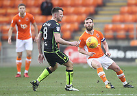 Blackpool's Jimmy Ryan in action with Bristol Rovers' Ollie Clarke<br /> <br /> Photographer Mick Walker/CameraSport<br /> <br /> The EFL Sky Bet League One - Blackpool v Bristol Rovers - Saturday 13th January 2018 - Bloomfield Road - Blackpool<br /> <br /> World Copyright &copy; 2018 CameraSport. All rights reserved. 43 Linden Ave. Countesthorpe. Leicester. England. LE8 5PG - Tel: +44 (0) 116 277 4147 - admin@camerasport.com - www.camerasport.com