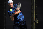 26 MAY 2011: Beeland Humphreys of Emory returns a volley during the Division III Men's Tennis Championship held at the Biszantz Family Tennis Center and Pauley Tennis Complex in Claremont, CA. Amherst defeated Emory 5-2 for the national title. Stephen Nowland/NCAA Photos