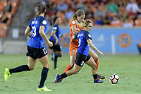 Houston, TX - Sunday August 13, 2017:  Cami Privett and Lo'eau Labonta during a regular season National Women's Soccer League (NWSL) match between the Houston Dash and FC Kansas City at BBVA Compass Stadium.