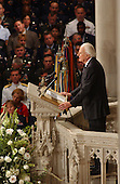 Reverend Dr. Billy Graham delivers a sermon during the National Day of Prayer Service at the Washington National Cathedral in Washington, D.C. on Friday, September 14, 2001.  .Credit: Ron Sachs / CNP
