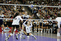 15 December 2007: Stanford Cardinal Bryn Kehoe (4) during Stanford's 25-30, 26-30, 30-23, 30-19, 8-15 loss against the Penn State Nittany Lions in the 2007 NCAA Division I Women's Volleyball Final Four championship match at ARCO Arena in Sacramento, CA.