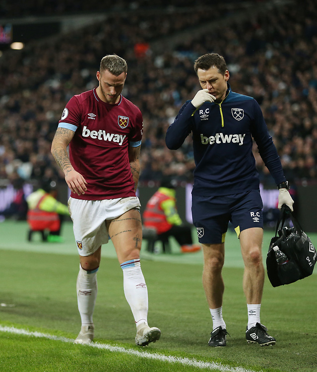 West Ham United's Marko Arnautovic is forced from the game with a hamstring injury<br /> <br /> Photographer Rob Newell/CameraSport<br /> <br /> The Premier League - West Ham United v Cardiff City - Tuesday 4th December 2018 - London Stadium - London<br /> <br /> World Copyright © 2018 CameraSport. All rights reserved. 43 Linden Ave. Countesthorpe. Leicester. England. LE8 5PG - Tel: +44 (0) 116 277 4147 - admin@camerasport.com - www.camerasport.com