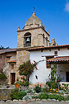Monterey County, CA<br /> Tower of the Carmel Mission Basilica (1797) above the courtyard gardens - Mission San Carlos Borromeo del Rio Carmelo