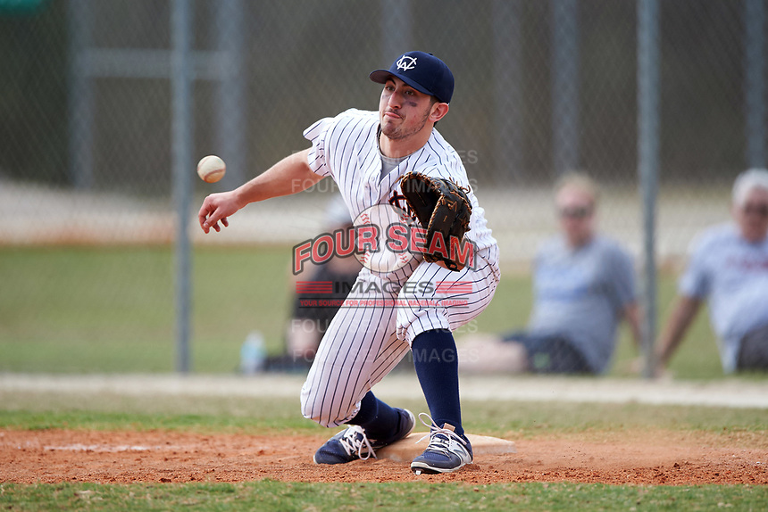 Western Connecticut Colonials first baseman Frank Vartuli (11) stretches for a throw during the second game of a doubleheader against the Edgewood College Eagles on March 13, 2017 at the Lee County Player Development Complex in Fort Myers, Florida.  Edgewood defeated Western Connecticut 3-1.  (Mike Janes/Four Seam Images)