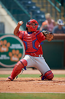 Lakewood BlueClaws catcher Gregori Rivero (23) throws the back to the pitcher during a game against the Greensboro Grasshoppers on June 10, 2018 at First National Bank Field in Greensboro, North Carolina.  Lakewood defeated Greensboro 2-0.  (Mike Janes/Four Seam Images)