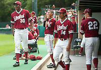 STANFORD, CA - April 23, 2011: The Stanford baseball team cheers during Stanford's game against UCLA at Sunken Diamond. Stanford won 5-4.