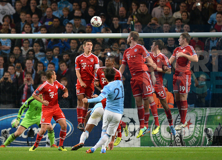 David Silva of Manchester City sends a free kick on to the cross bar in the last five minutes - UEFA Champions League Group D - Manchester City  vs Bayern Munich - Etihad Stadium - Manchester - England - 02/10/13 - Picture Simon Bellis/Sportimage