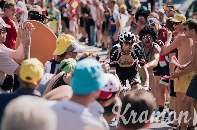 """Laurens ten Dam (NED/Sunweb) spurring the fans on coming through """"Dutch Corner"""" (#7) on Alpe d'Huez<br /> <br /> Stage 12: Bourg-Saint-Maurice / Les Arcs > Alpe d'Huez (175km)<br /> <br /> 105th Tour de France 2018<br /> ©kramon"""