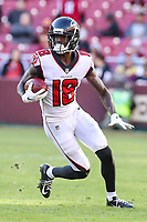 Landover, MD - November 4, 2018: Atlanta Falcons wide receiver Calvin Ridley (18) in action during the  game between Atlanta Falcons and Washington Redskins at FedEx Field in Landover, MD.   (Photo by Elliott Brown/Media Images International)