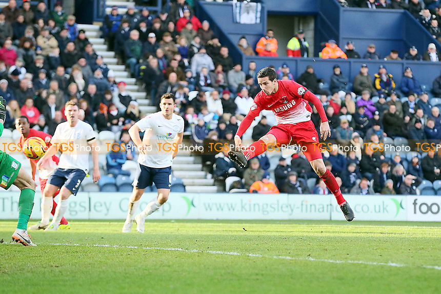 MathieuB Baudry opens the scoring for the o's beating keeper Declan Rudd<br /> Preston NE v Leyton Orient  - SkyBet League One Football at the Deepdale Stadium Preston Lancashire 15/02/14 - MANDATORY CREDIT SIMON O'CONNOR -Self Billing applies where appropiate 01376 553468 contact@tgsphoto.co.uk - NO UNPAID USE