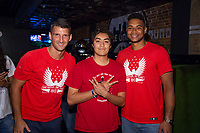 Eric Lichaj and Zack Steffen meets a fan attending a U.S. Soccer Sunday Kick-off Series Event at Nashville Underground on Sunday, September 9, 2018 in Nashville, TN.