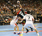10.01.2019, Mercedes Benz Arena, Berlin, GER, Handball WM 2019, Deutschland vs. Korea, im Bild <br /> Paul Drux (GER #95), JEONG Jeawan (Korea #52) , KANG Tan (Korea #7)<br /> <br />      <br /> Foto © nordphoto / Engler