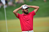 Bethesda, MD - July 2, 2017: Geoff Ogilvy reacts to a near Birdie on the eighteenth hole during final round of professional play at the Quicken Loans National Tournament at TPC Potomac at Avenel Farm in Bethesda, MD.  (Photo by Phillip Peters/Media Images International)